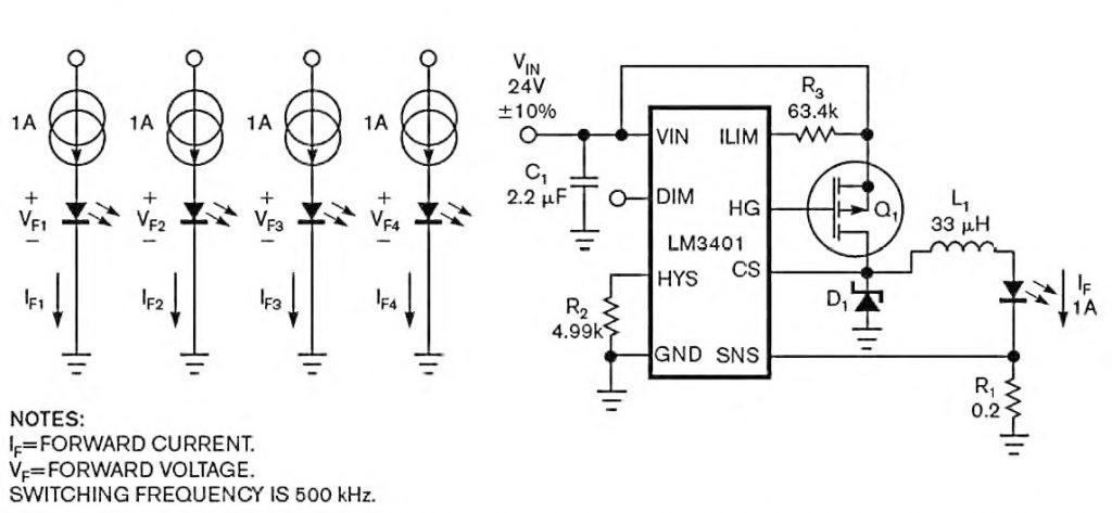 Figura 2: schematizzazione e circuito del test su 4 diversi LED con corrente di 1 A fissa