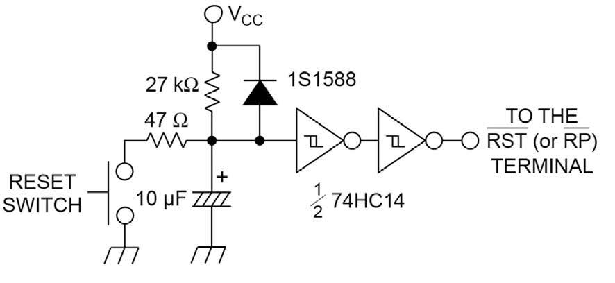 Figura 1: un semplice circuito di reset al power-up (da [1]).