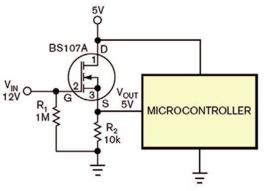 Figura 1: un MOSFET utilizzato per condizionare un segnale a tensione elevata.