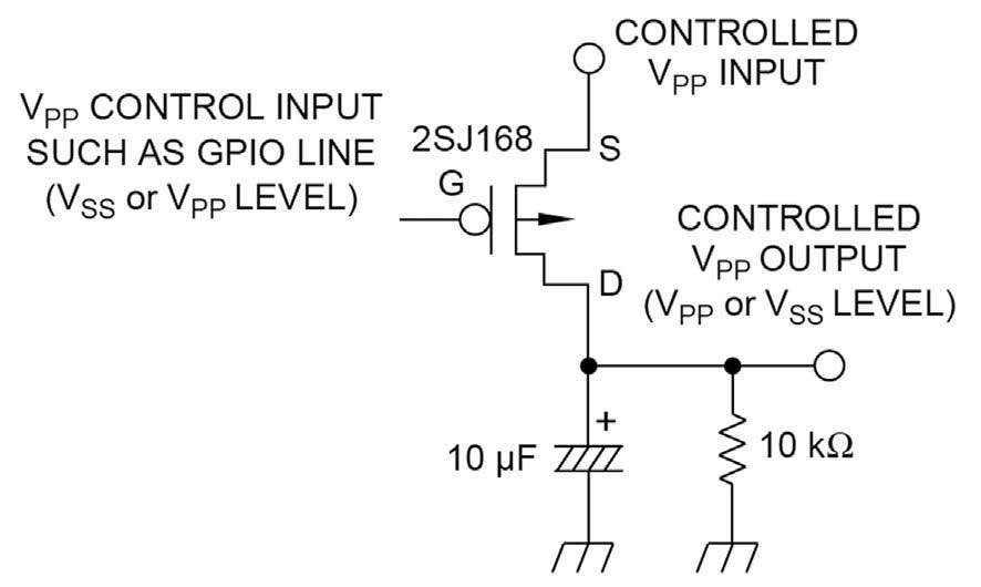 Figura 2: un circuito per commutare la tensione di programmazione delle memorie flash (da [1]).