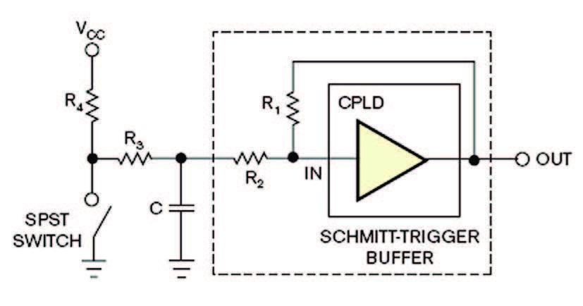 Figura 8: utilizzo di un buffer con Schmitt-trigger per il debouncing.