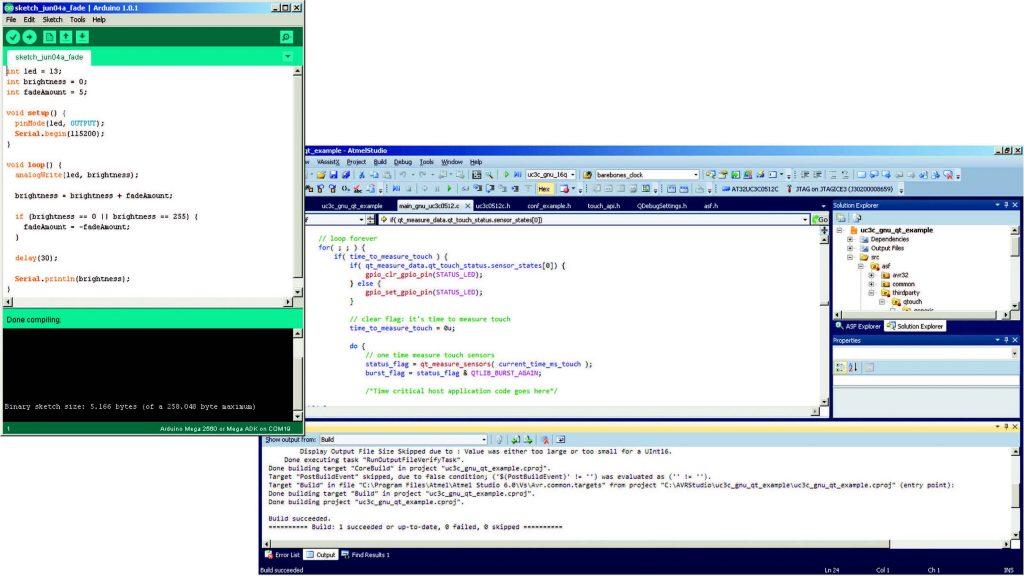 Figura 1 – Dal confronto tra l'IDE di Arduino e Studio 6 di Atmel si evince la semplicità dell'ambiente di sviluppo di Arduino