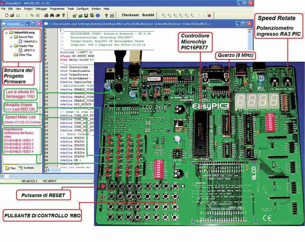 Figura 3-Il progetto firmware nell'interfaccia IDE MPLAB e la scheda di sviluppo EasyPic3 per il test hardware e firmware del progetto