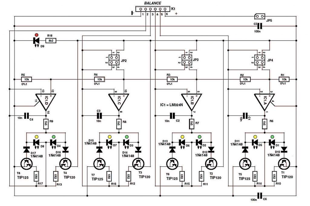 Figura 3. Più celle = più operazionali e resistenze. Più corrente = stage d'uscita con amplificatore Darlington in classe B. Più convenienza = Led indicanti il flusso di corrente in uscita.