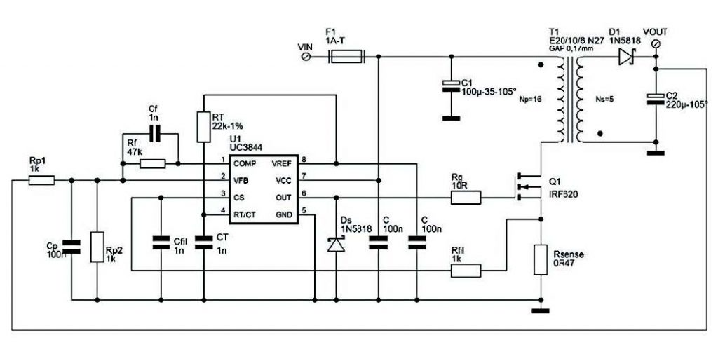 Figura 5: Switching 5V-1A in tipologia flyback.