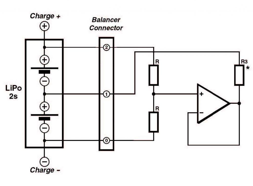 Figura 2. Un amplificatore operazionale di potenza e tre resistenze è tutto ciò che serve per realizzare un bilanciatone.