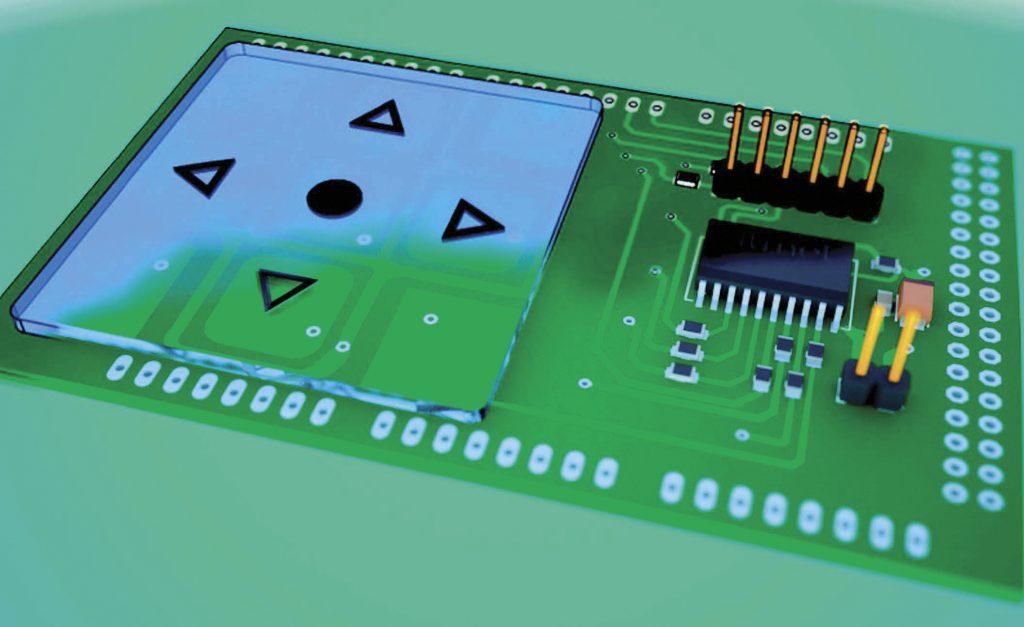 Figura 4 – Vista 3D del progetto TickleShield: il modello 3D creato con SketchUp è sovrapposto all'immagine ottenuta con il tool di rendering Maxwell