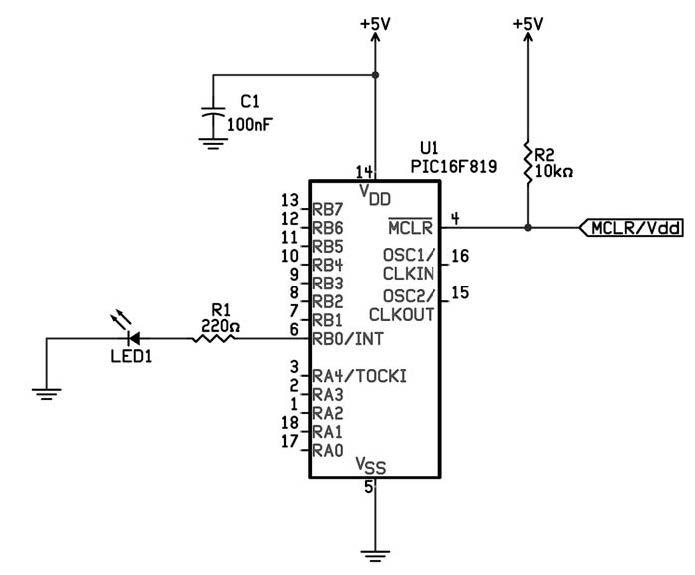 Figura 1: schema elettrico per la realizzazione del PWM software.