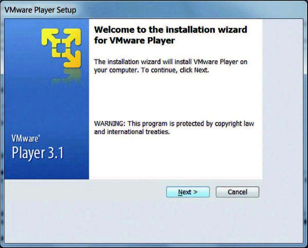 Figura 1. L'installazione del VMware Player.