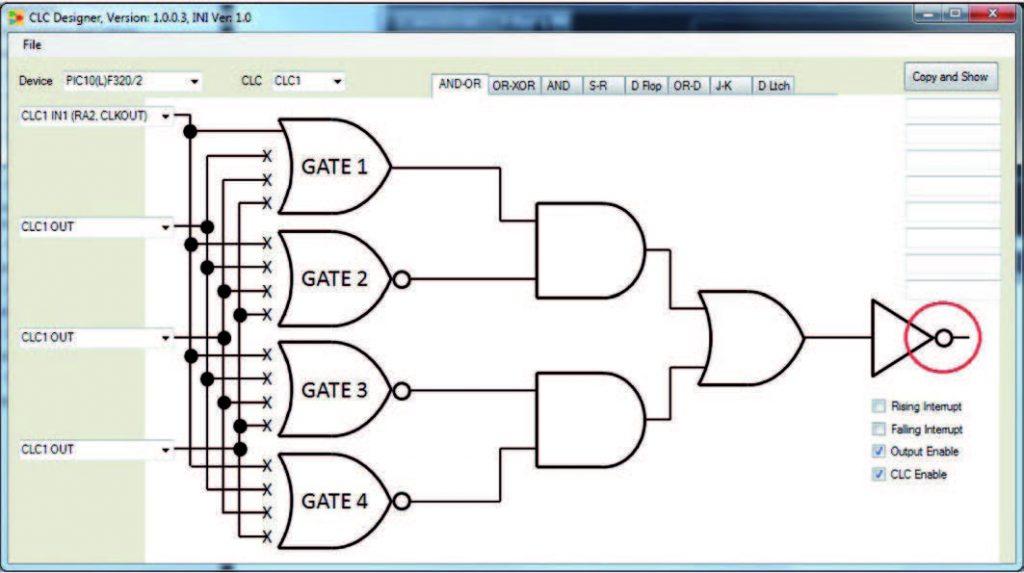 Figura 5: Configurazione del CLC con uscita invertente.