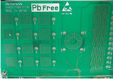 Figura 2: Elettrodi su PCB per una matrice a tasti, una regolazione a rotazione e un cursore.