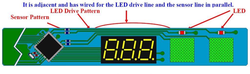 Figura 2: Esempio di realizzazione con piste di segnale che viaggiano affiancate alle linee di collegamento dell'elettrodo.