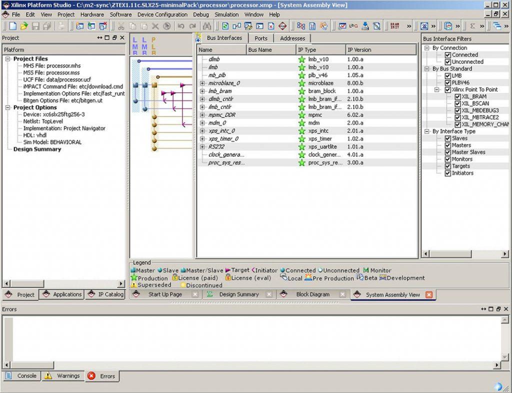 Figura5 : IDE di Xilinx Platform Studio