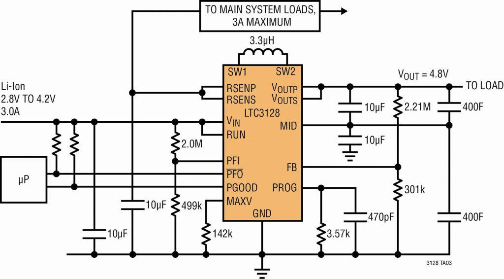 Figura 2. Tipico circuito LTC3128 per applicazioni di alimentazione tampone
