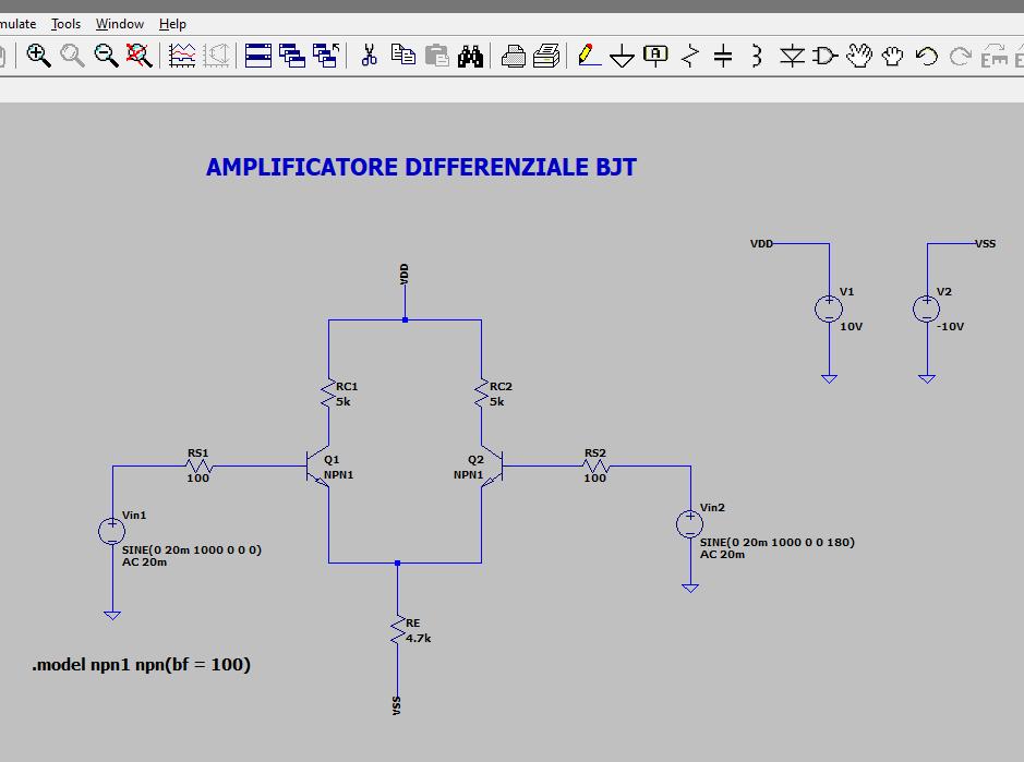 Figura 1: schematico dell'Amplificatore Differenziale BJT