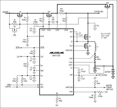I caricabatterie MAX17035, MAX17435 e MAX17535 Schema