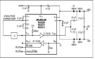 Un ricetrasmettitore a circuiti integrati in grado di erogare ± 30 V Diagram